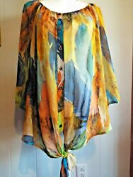 Roz amp; Ali Woman sheer button front with tie top long sleeves colorful Plus 22 24 $12.99