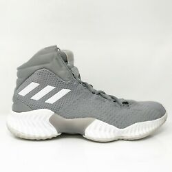 Adidas Mens Pro Bounce AH2665 Gray Basketball Shoes Lace Up Mid Top Size 8.5 $51.74