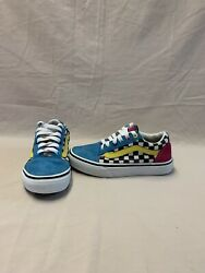 Vans Off The Wall Girls Blue pink checkerboard Retro Style Shoes size 1.5 Y $18.00