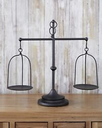 Farmhouse Scale Candleholder Unique Centerpiece Stand with Vintage Style $23.98