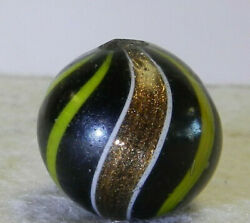 #12191m Large .78 Inches Black Base Banded Lutz German Handmade Marble $349.99
