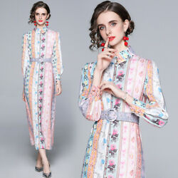 women long sleeve shirt maxi runway dress Designer clothes print work wear dress