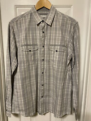 Young Mens Dress Shirt Gray White Plaid Snap Closure NWT $12.00