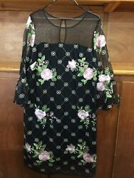 Madison Leigh Women#x27;s Black Embroidered Floral Cocktail Dress 16 NWT $30.00
