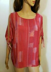 Halston Womens Trendy Chic Cold Shoulder colorful Top Blouse Size Medium NEW $35.00