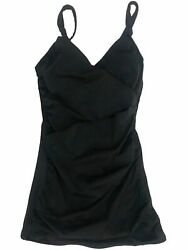 Womens Black Wrap Around Ruffled One Piece Swimming Suit Bathing Dress Size 6 $36.99