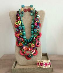 Vintage to Now Colorful Boho Chunky Wooden Jewelry Necklace Earrings Lot $24.00