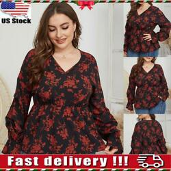 Plus Size Womens V Neck Floral Long Sleeve T shirt Ladies Casual Loose Tops US $8.69