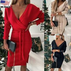 Women Long Sleeve V Neck Wrap Party Dress Ladies Sexy Slit Button Belt Dresses $19.99