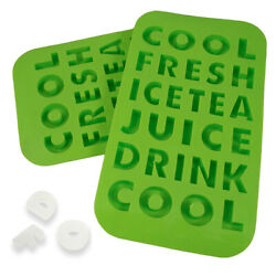 2 Letters Shaped Ice Cube Silicone Trays Words Molds Novelty Kids Drinks Party $7.99
