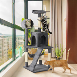 51in Multilevel Cat Tree Cat Condo with Scratching Post Hammock Tunnel House $48.59