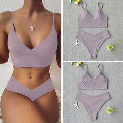 Sexy High Quality Solid Women Swimwear Bikini Set High Swimsuit Fast Shipping $27.99
