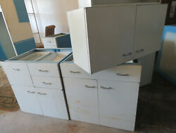 HUGE ST CHARLES Entire Vintage Kitchen Metal Cabinets with Corian Center Island $8999.95