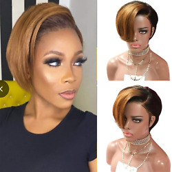 Short Pixie Cut Bob Wig for Black Women Straight 150% Density Side Part Wig Wig