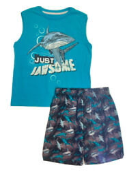 Pajamas Boys 12 14 LARGE Shark PJs Short Set 2 Piece New W Tags Sells For $32 $13.50