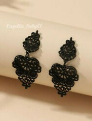 Black Victorian Vintage Antique Gothic Wedding Dangle Big Earrings US SELLER
