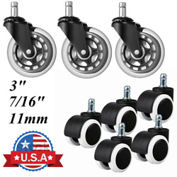 Office Chair Wheel Caster Swivel Rubber Wood Floor Replacement 3quot; 7 16quot; 11mm $9.69