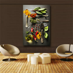 Grains Spices Spoon Peppers Kitchen Canvas Painting Cuadros Scandinavian Posters $16.90