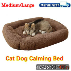 Long Plush Dog Beds Fluffy Soft Warm Calming Bed Sleeping Dog Cat Bed Kennel Mat $43.99