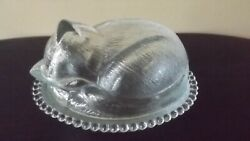 INDIANA GLASS SLEEPING CAT COVERED CANDY DISH VINTAGE $14.99