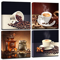 Wall art for kitchen Coffee Bean Coffee Cup Canvas Prints Wall Art Decor Framed $41.92