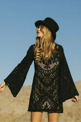 SPELL amp; THE GYPSY COLLECTIVE DRESS Fleetwood Mini Dress Black Lace Boho XS NWT $86.25