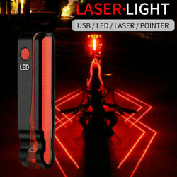 Laser Spider Bike Light Rear Lamp Bicycle USB Rechargeable Tail Safely Cycling $18.94