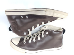Converse All Star Mens Leather High Top Brown White Sneaker Shoes Sz 10 142079C $44.99