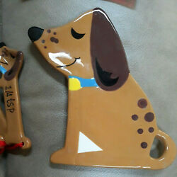 Dachshund Doxie 5 Pc Set Ceramic Kitchen Measuring Spoons and Rest Country Dog $40.00