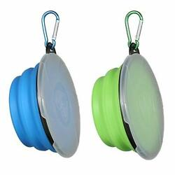 Collapsible Dog Bowl2 Pack Portable Fordable Pet Travel Bowls with Lids $12.38