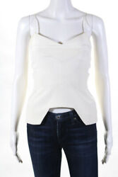 Nicholas Womens Cut Out Zip Up Camisole Blouse White Size 2 $39.99