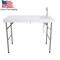 Portable Foldable Table with Sink Faucet Durable Outdoor Garden Camping White $69.99