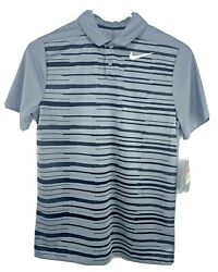 NWT Nike Golf Boys Size L Dri Fit Fashion Polo Shirt 921383 065 Gray Black $27.65