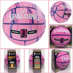 """Spalding Mid Size 28.5"""" NBA Marble Series 4 HER Outdoor Basketball Pink $24.44"""