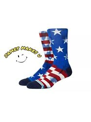 Stance The Banner Classic Red White Blue Crew Socks A556A21BAN NVY Large $15.99