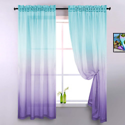 Lilac and Turquoise Curtains for Bedroom Girls Room Decor Set of 2 Panels Ombre $31.93