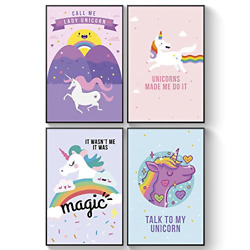 Unicorn Posters for Girls Bedroom Girls Room Wall Art Adorable Matching Art or $23.41