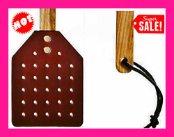 NEW Amish Leather Fly Swatter With Wood Handle Brown FREE SHIPPING $25.99
