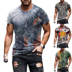Mens Abstract Printed Short Sleeve T Shirt Summer Casual Sport Crew Neck Top Tee $16.24