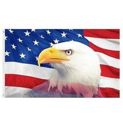 USA EAGLE HEAD FLAG 3#x27; X 5#x27; WITH GROMMETS FOR HANGING OUTDOOR INDOOR US FLAG $10.95