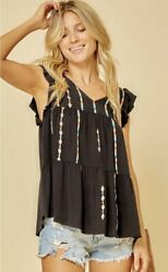 SAVANNA JANE Black V Neck Flutter Sleeve Top with Embroidery Accents