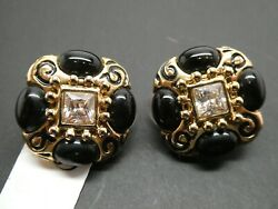 Vintage ST JOHN Designer Black Enamel Crystal Gold Plated Clip Earrings NEW