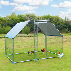 Large Metal Chicken Coop Walk in Poultry Cage Hen Run House Rabbits Habitat Cage $299.99