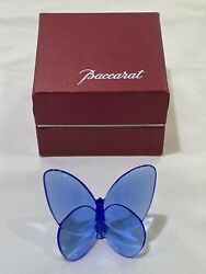 MINT BOX Baccarat France Crystal French Art Glass Lucky Butterfly Sapphire Blue $149.00
