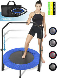 NEW Mini Foldable Trampoline With Bar Urban Rebounder Bouncing Exercise Yoga Gym $59.99
