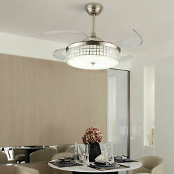 42quot; Invisible LED Ceiling Fan amp; Light Chandelier Crystal Lamp Remote $138.09