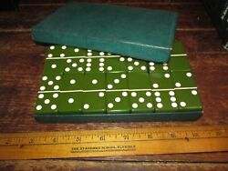 Mid Century Thick Green Bakelite Dominoes 28 Complete dark or avocado $75.00