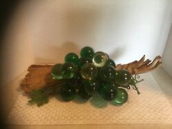 Vintage Large Mid Century Lucite Acrylic Green Grape Cluster on Driftwood HUGE $100.00