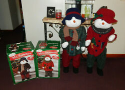 Vintage Poseable 40quot; Mr. Snowman And Mrs. Snowman Stand Up Christmas Decorations $49.98