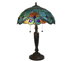 tiffany style 25 in. blue vintage table lamp glass shade stained light bell $128.88